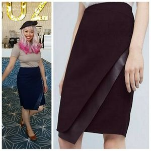 Anthro Bailey44 Navy Blue Leather Pencil Skirt